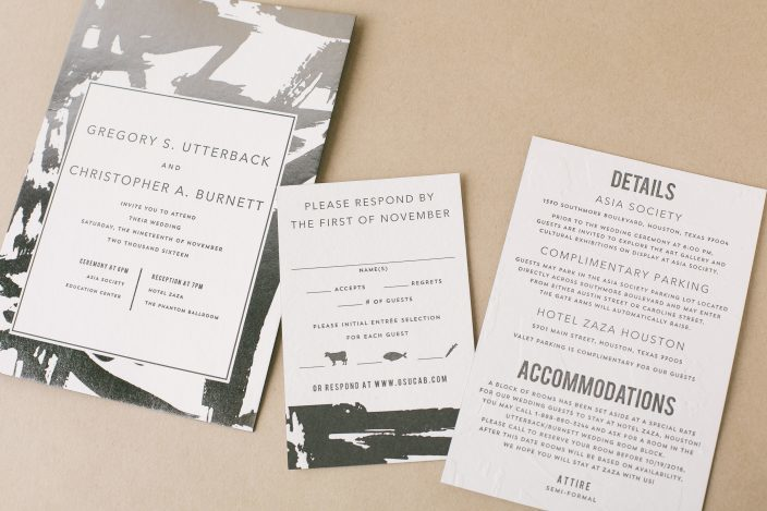 Modern brushstroke wedding invitations  with foil + letterpress by Smock