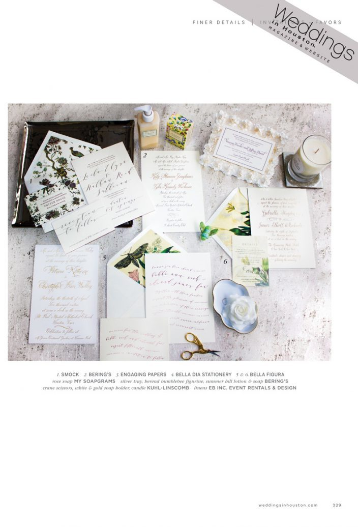 Smock's Camden wedding invitations featured by Weddings in Houston magazine