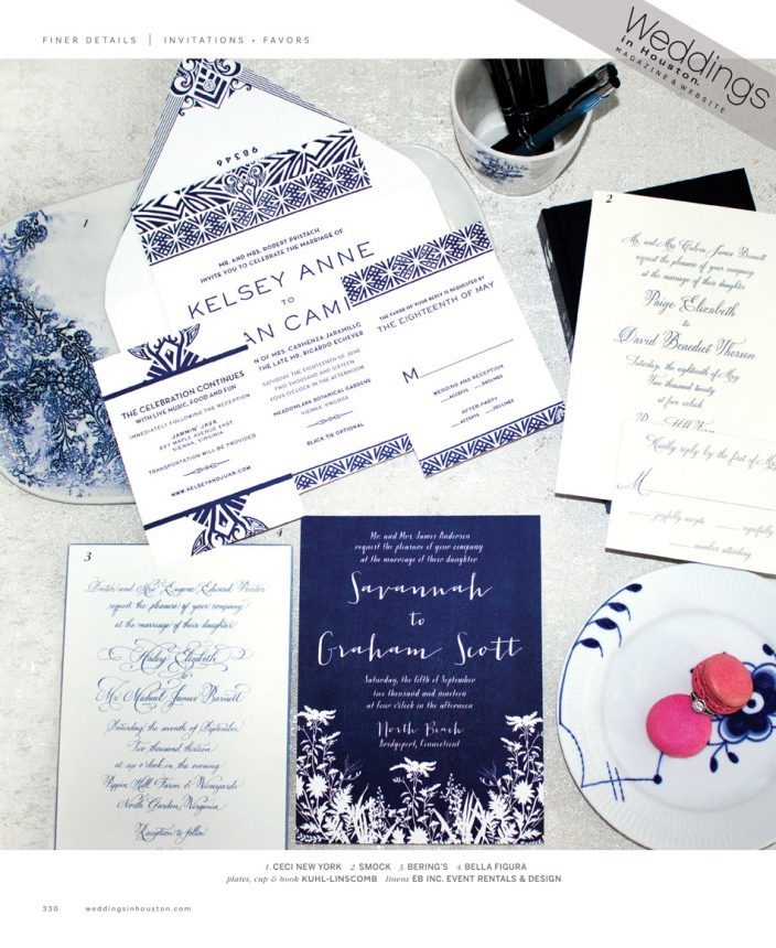 Smock's Tensley wedding invitations featured by Weddings in Houston magazine