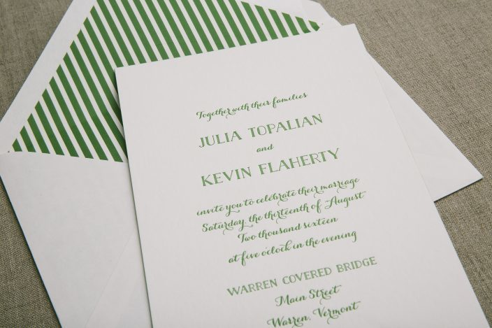 Green Letterpress Wedding Invitations With Striped Envelope Liners From  Smock