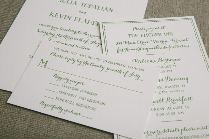 Green letterpress wedding invitations from Smock