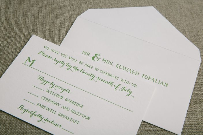 Green letterpress wedding invitation reply cards from Smock