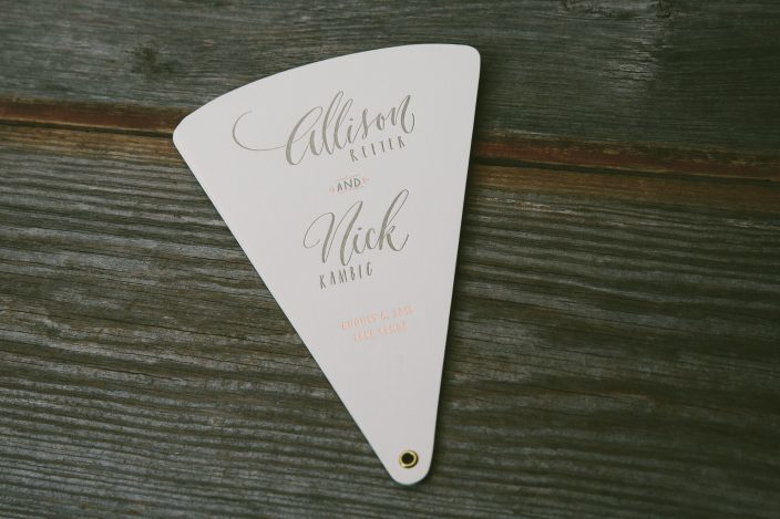 Letterpress + foil stamped paper fan wedding programs from Smock