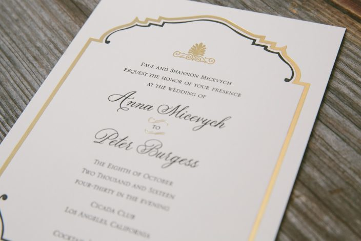 Black and gold art deco wedding invitations from Smock