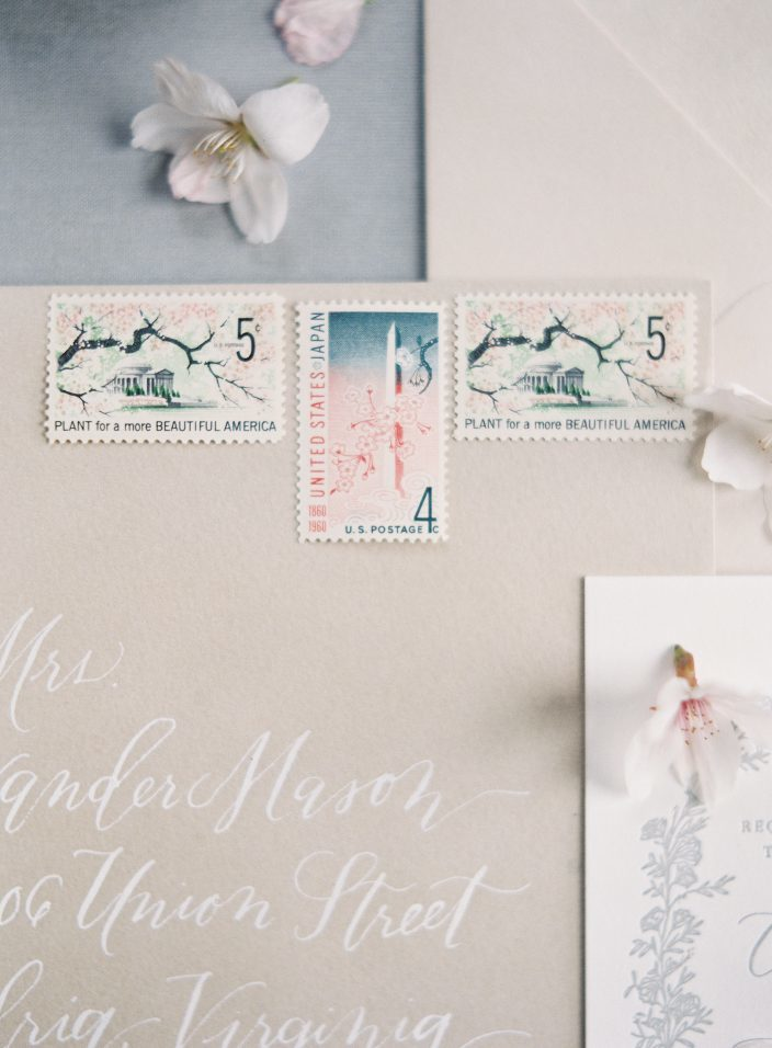Cherry Blossom wedding vintage postage stamps | photos by Angela Newton Roy Photography