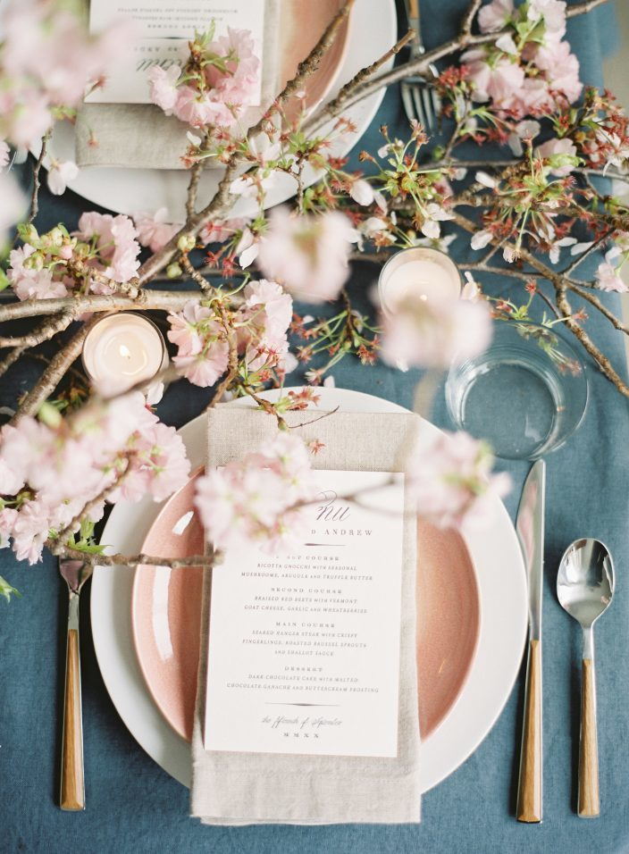 Cherry Blossom wedding inspiration shoot featuring letterpress wedding menus by Smock and photos by Angela Newton Roy Photography