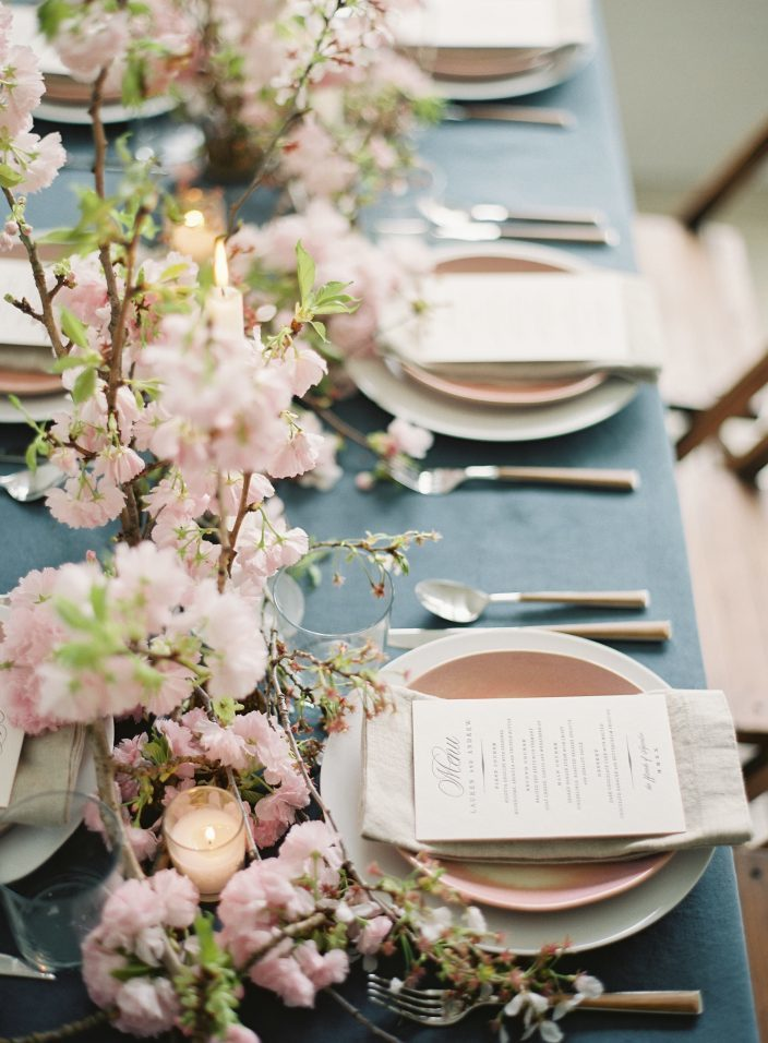 Cherry Blossom wedding inspiration featuring letterpress wedding menus by Smock and photos by Angela Newton Roy Photography