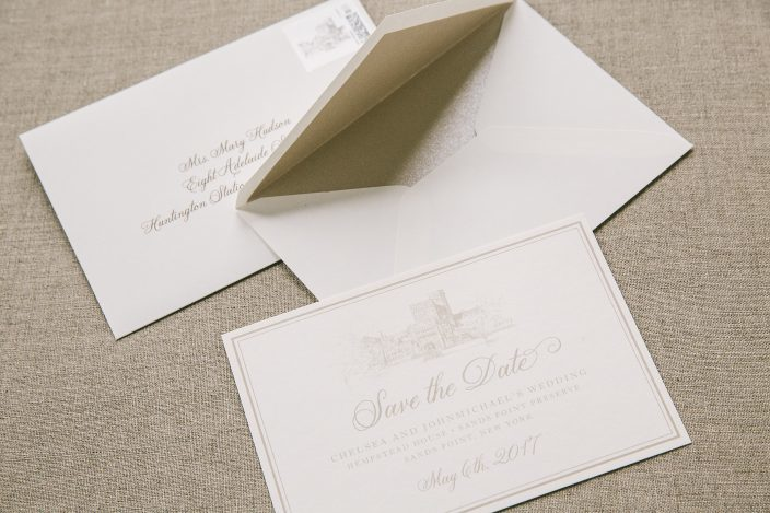 Custom save the dates from Smock with matching custom postage stamps