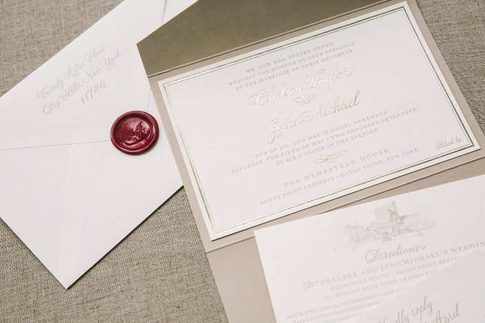 Custom pocketfold wedding invitations with matching monogram wax seal from Smock
