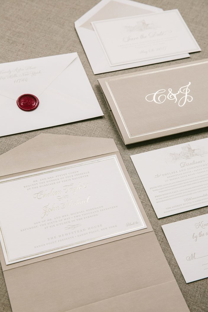 Custom foil, letterpress and digitally printed wedding invitation suite and save the dates from Smock