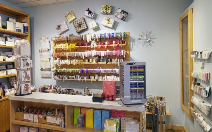 A peek inside at the ribbon wall at The Stationery Station in Highland Park, Illinois