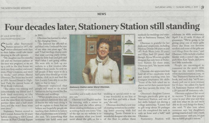 The Stationery Station in Highland Park, Illinois, was featured recently by the Daily North Shore newspaper