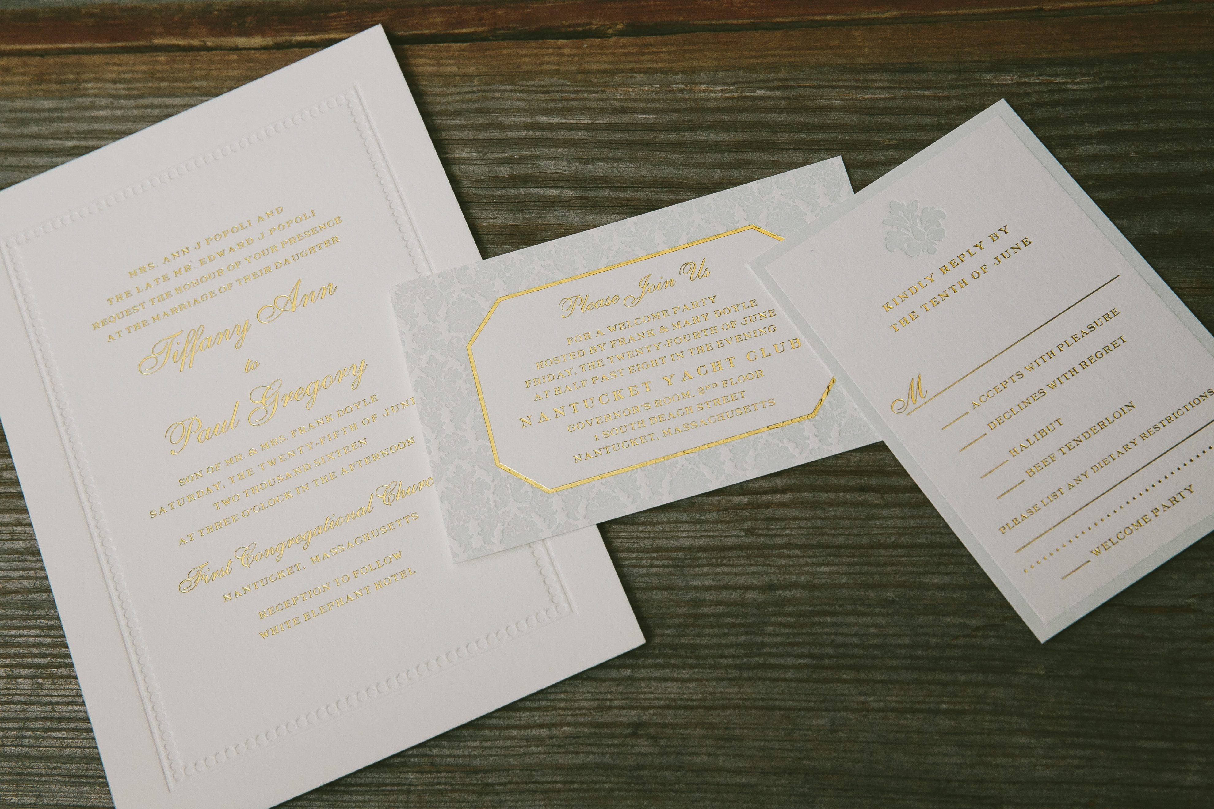 Timeless foil stamped wedding invitations from Smock