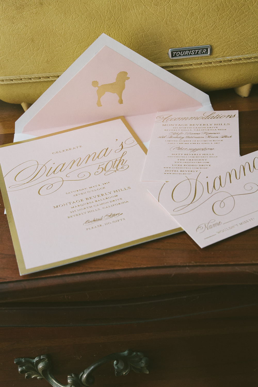 Glamorous foil stamped 50th birthday invitations from Smock