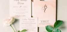 Romantic real wedding featuring blush + rose gold foil stamped wedding invitations by Smock | Photos by Rachel Solomon Photography