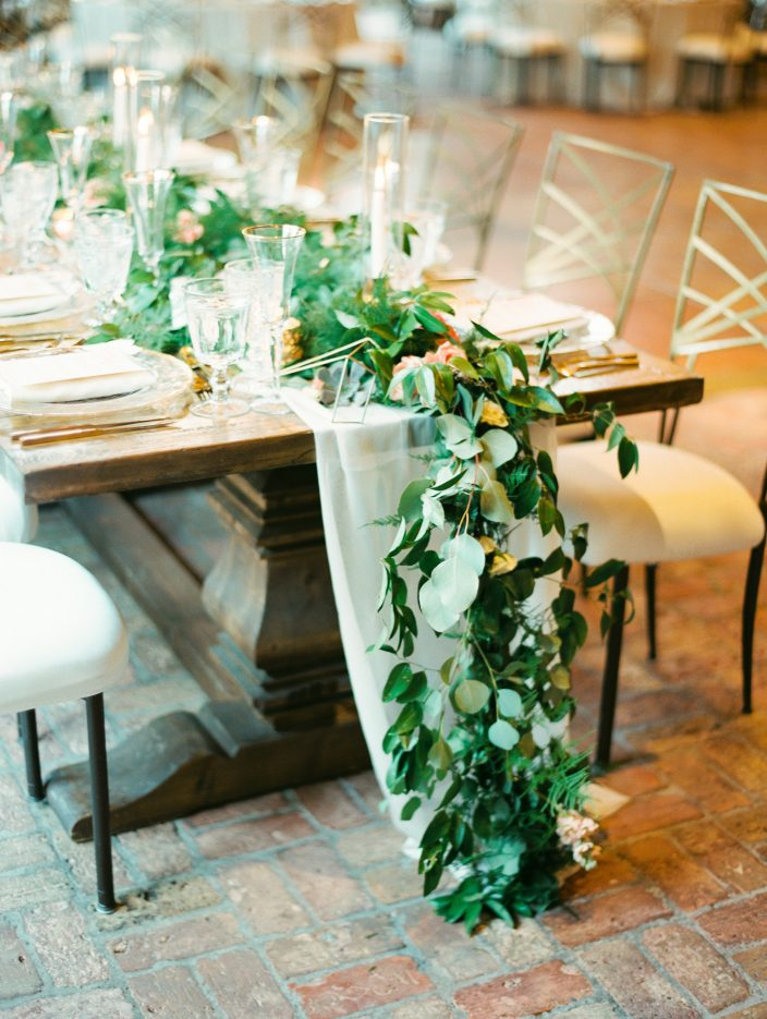 Greenery table garland | Wedding at the Silverleaf in Scottsdale, Arizona | Photos by Rachel Solomon Photography