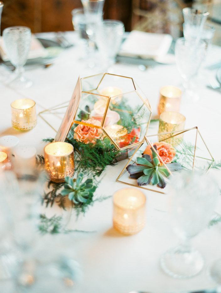 Modern gold + geometric floral wedding centerpieces | Photos by Rachel Solomon photography