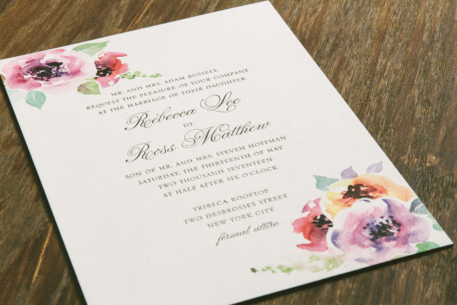 Classic letterpress wedding invitation featuring dreamy watercolor florals from Smock