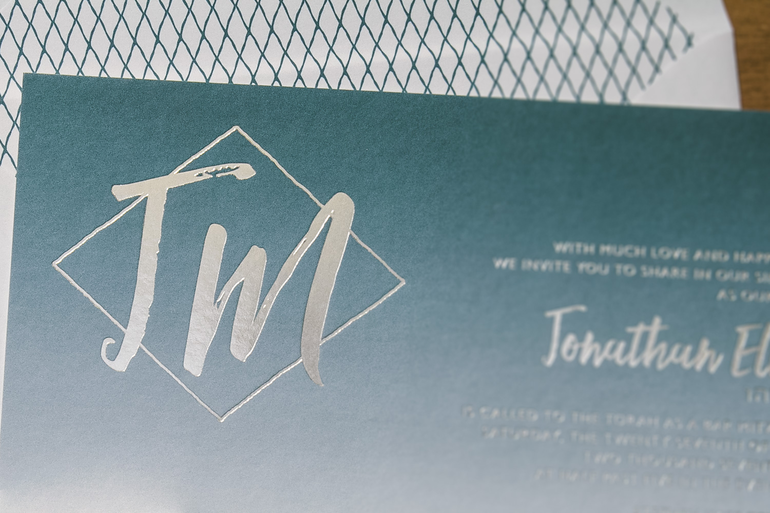 Foil stamped Bar Mitzvah invitations with ombre background from Smock