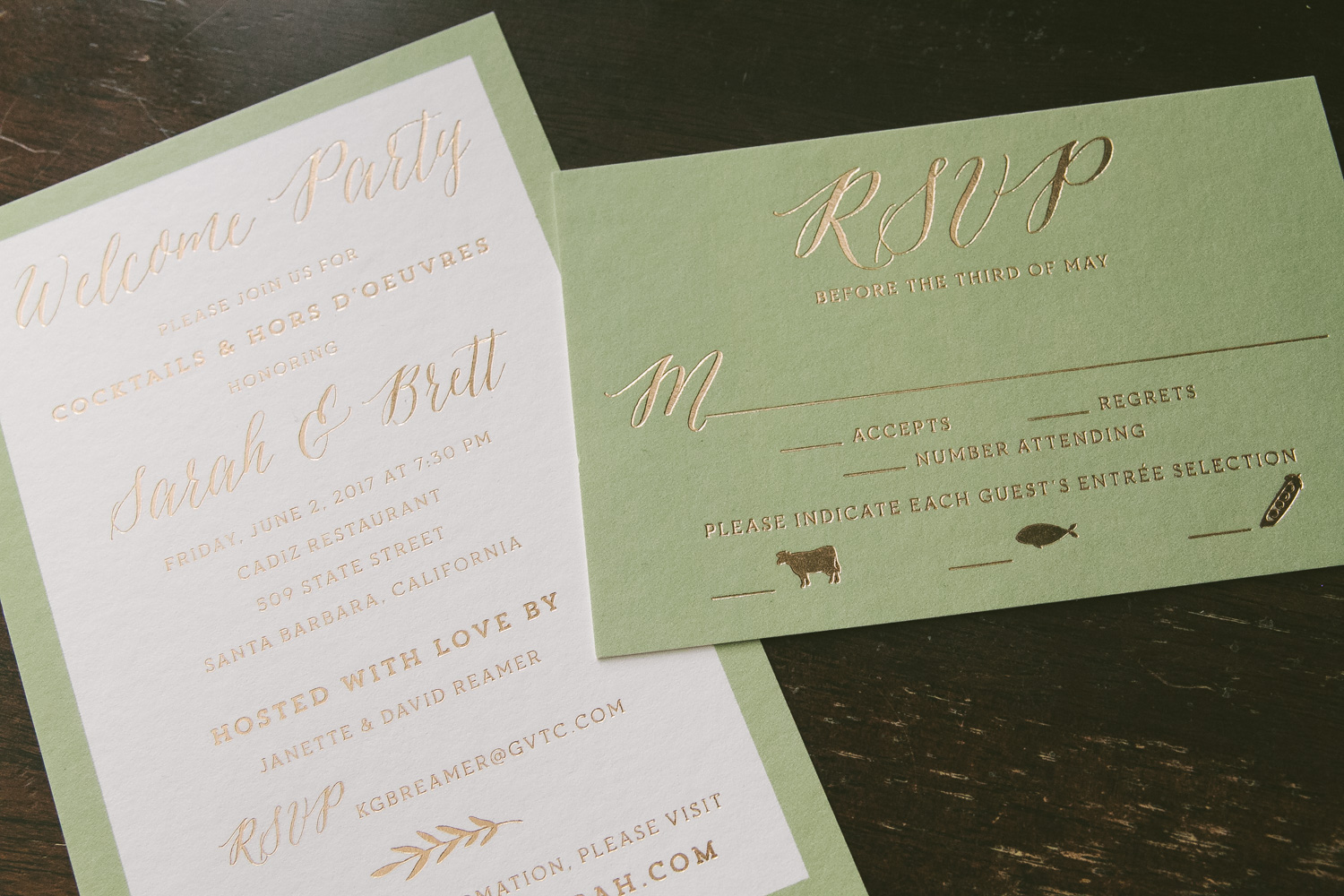 Sweet yet sophisticated bronze foil wedding invitations from Smock