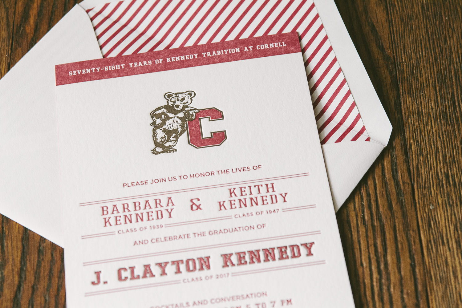 Scholarly letterpress graduation invitations from Smock