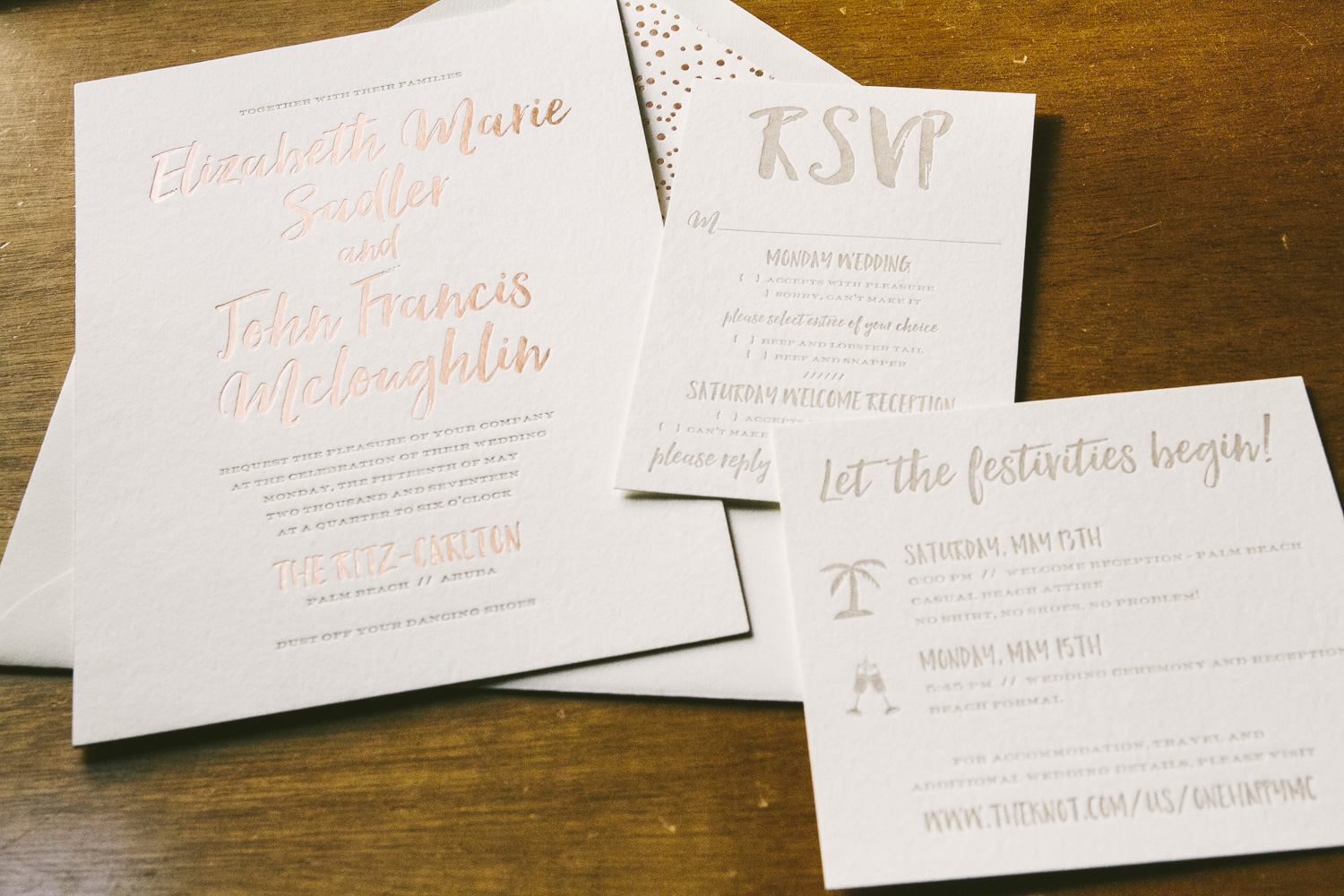 Rose gold wedding invitations for a tropical affair from Smock
