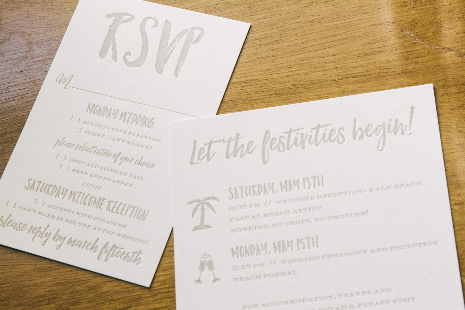 Rose gold wedding invitations for a tropical destination wedding from Smock