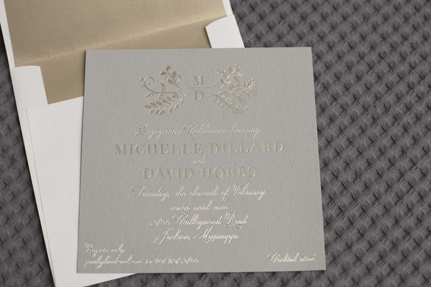 Botanical foil stamped engagement invitations