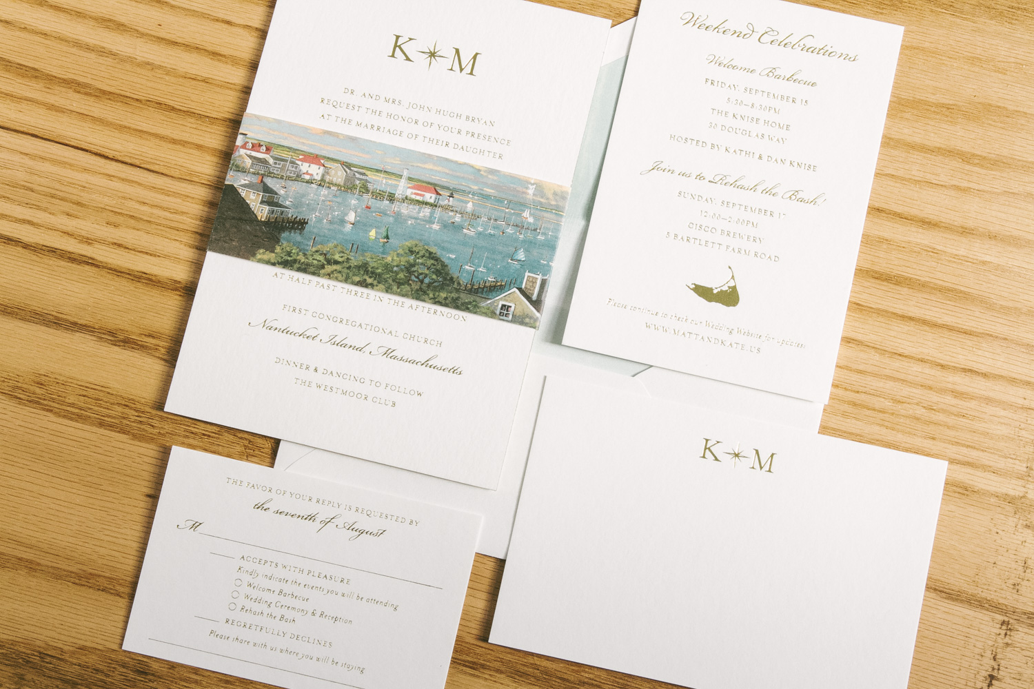 Gold foil stamped wedding invitations with seaside style from Smock