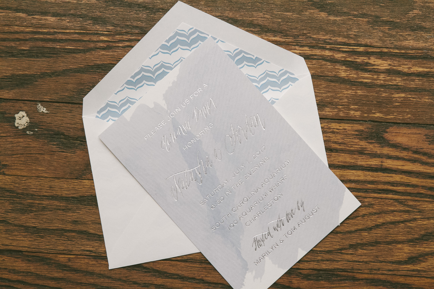 Modern watercolor rehearsal dinner invitations from Smock