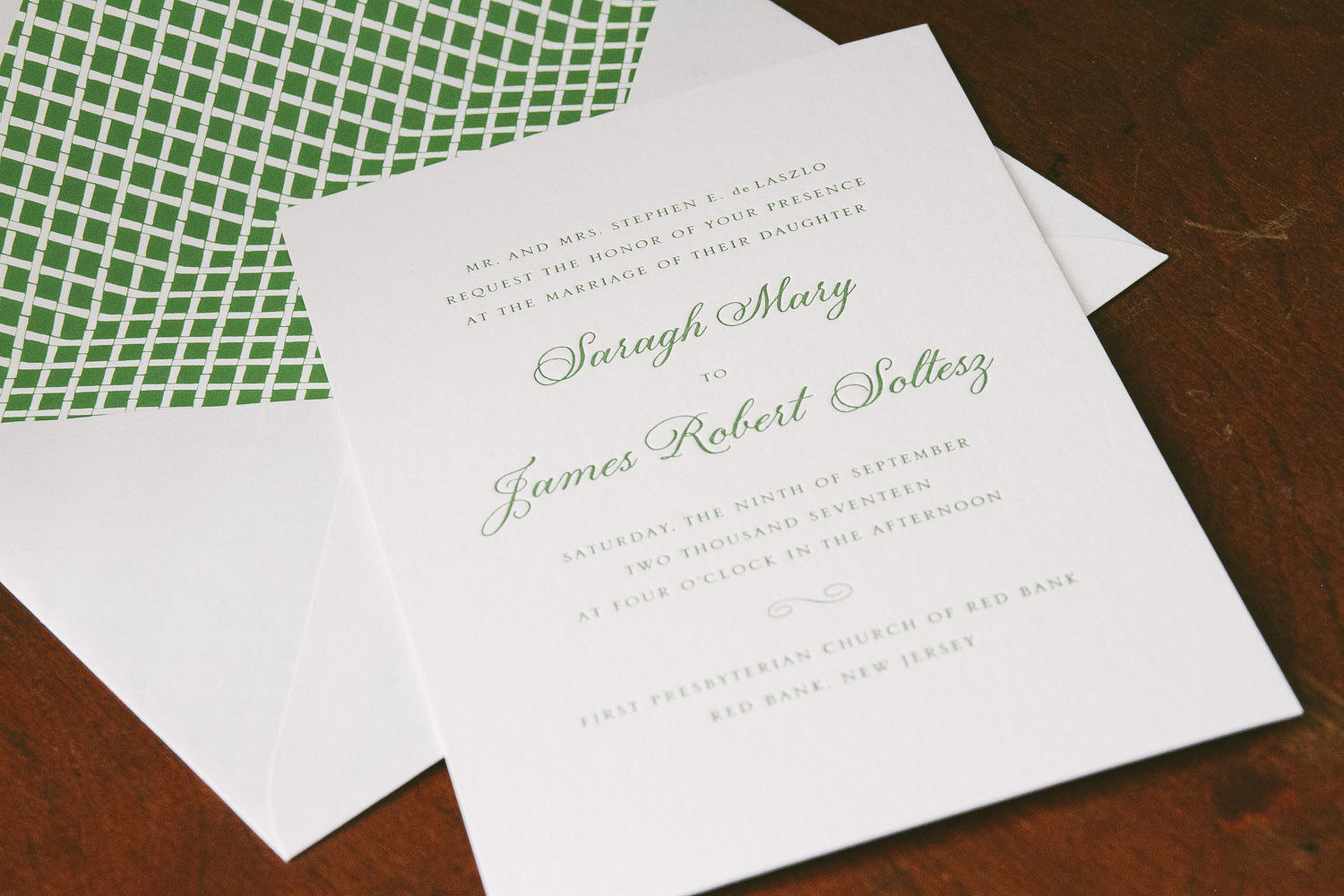 Sophisticated letterpress wedding invitations from Smock
