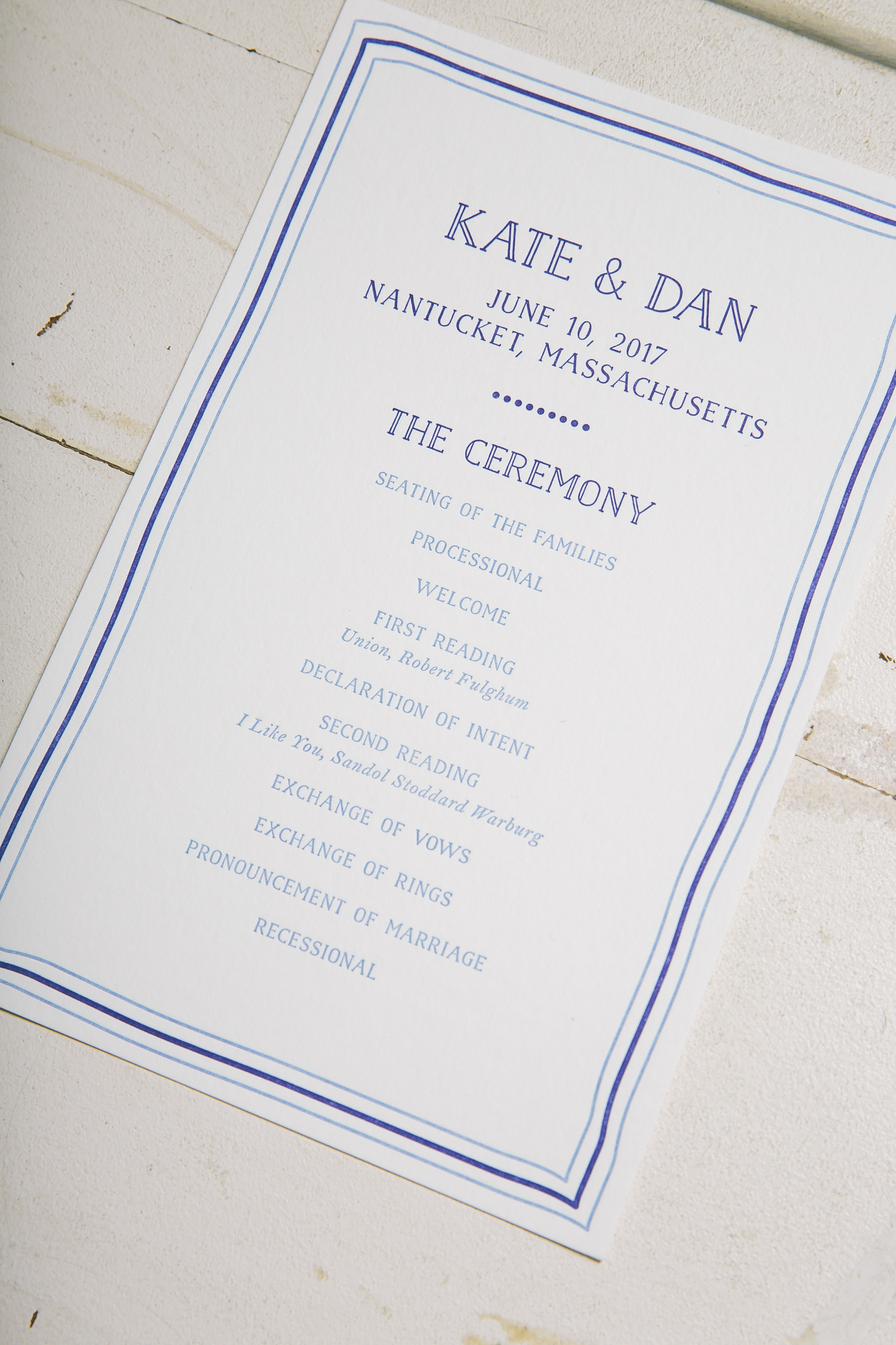 Nautical letterpress wedding day pieces for a Nantucket affair