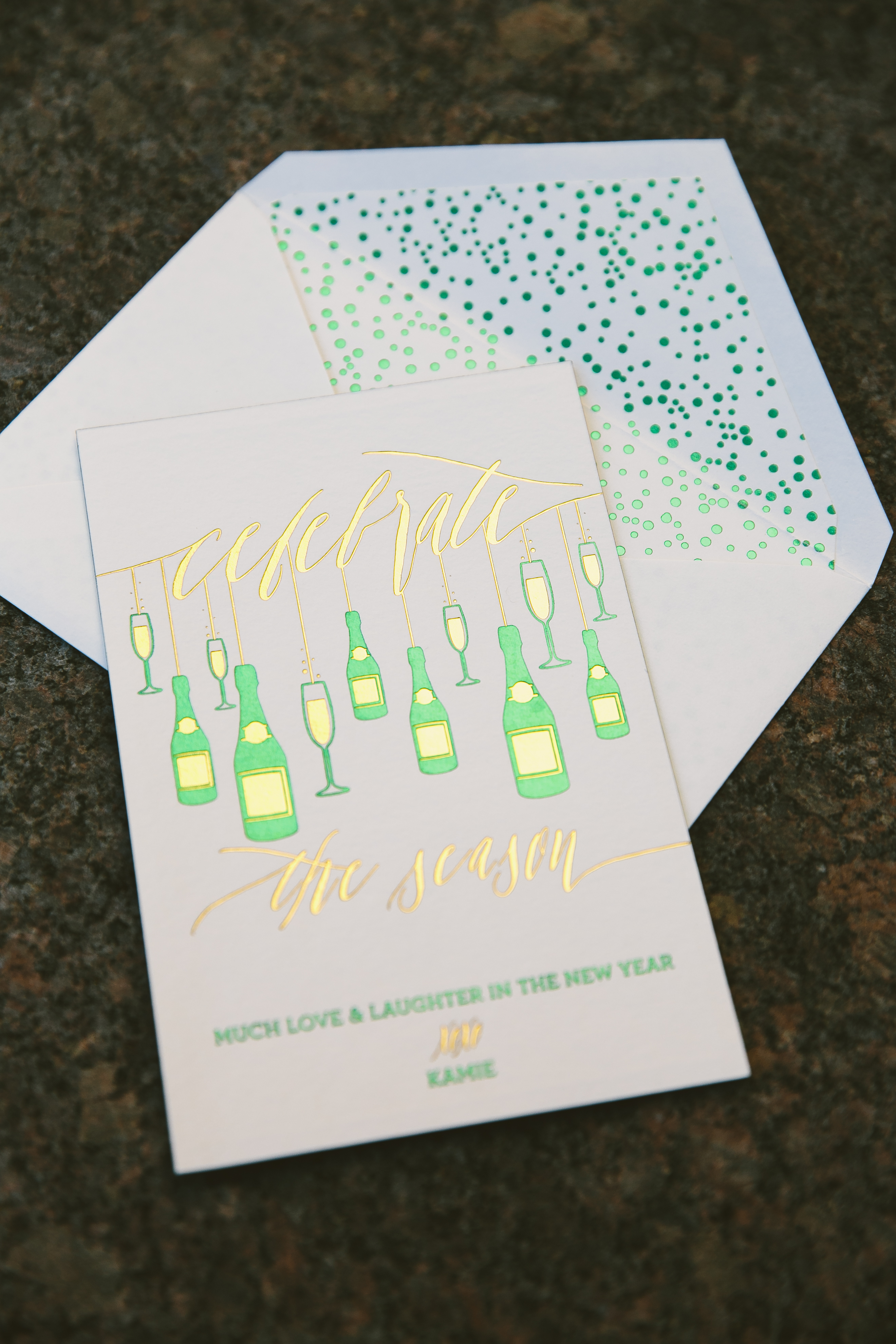 Foil stamped New Year's cards from Smock