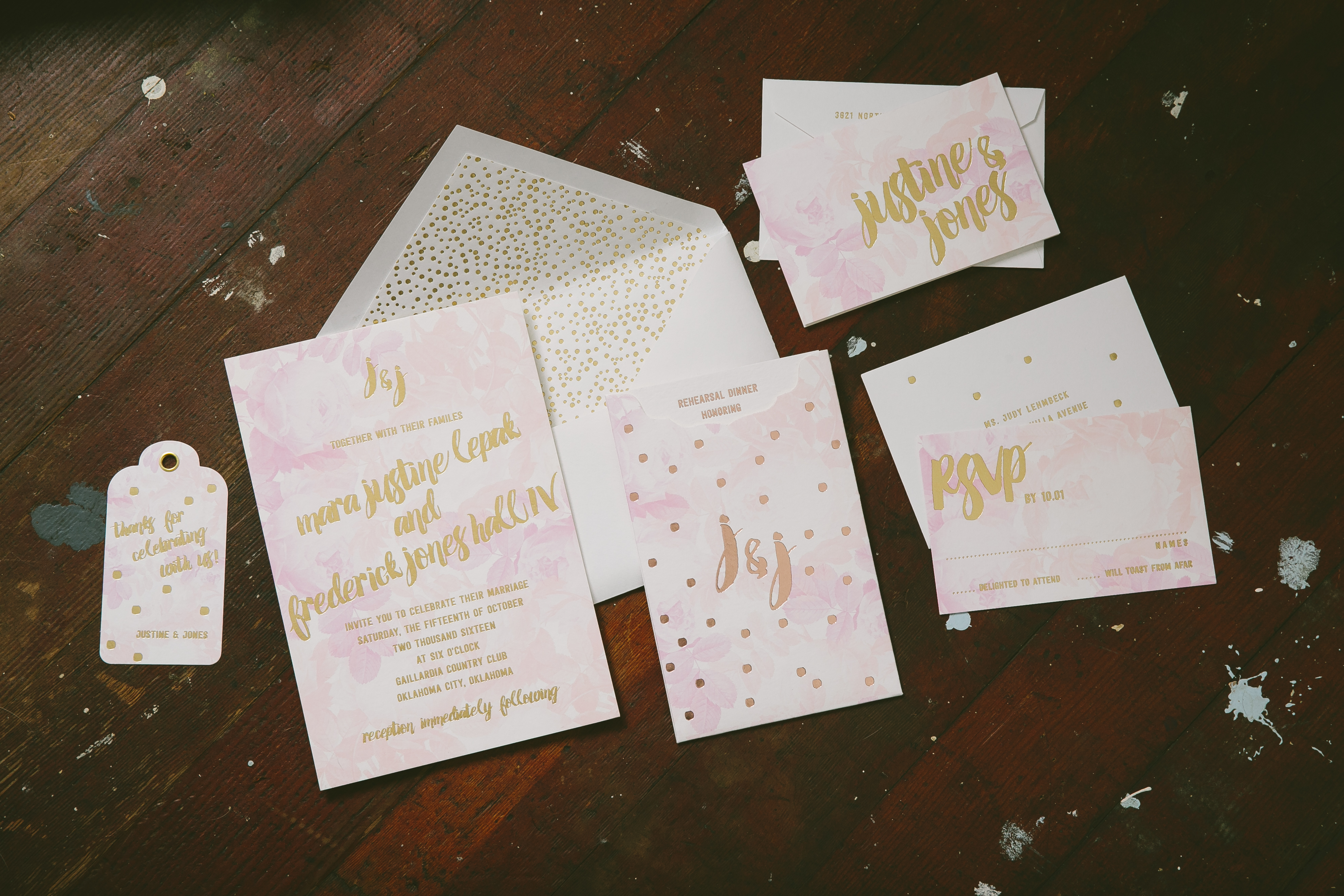 Playful watercolor wedding invitations printed in gold foil from Smock
