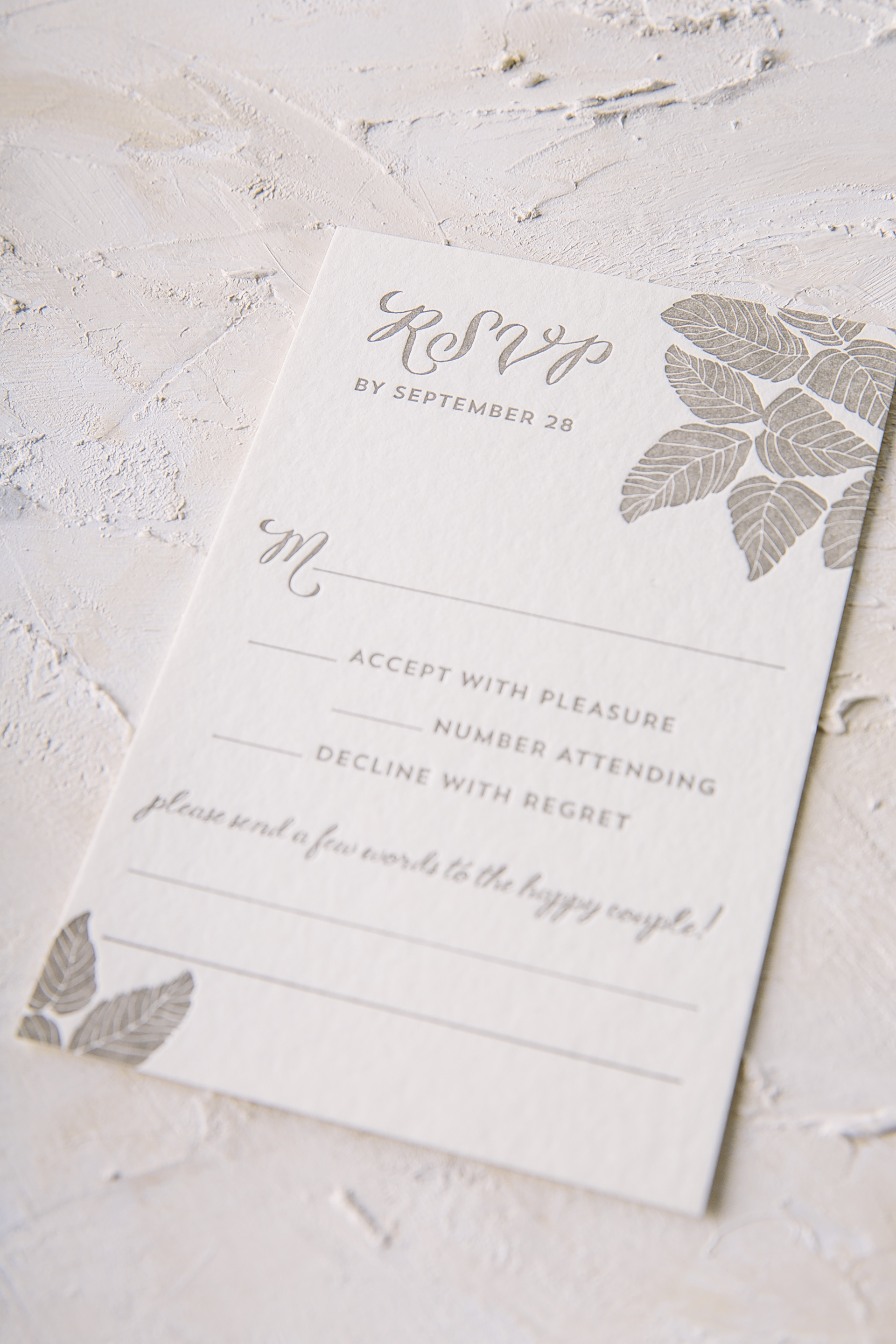 Refined letterpress wedding invitations with rustic flair from Smock
