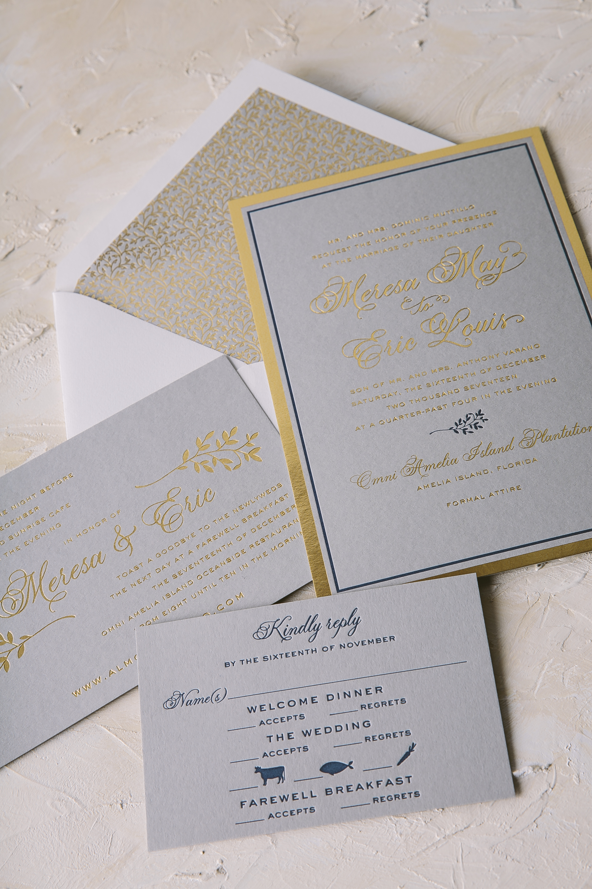 Polished foil stamped wedding invitations from Smock