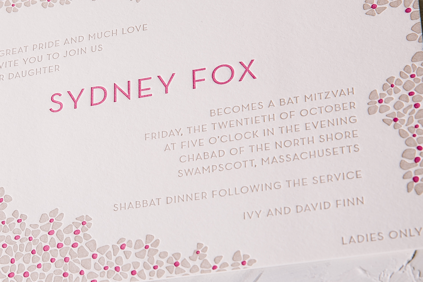 bat mitzvah invitations Smock