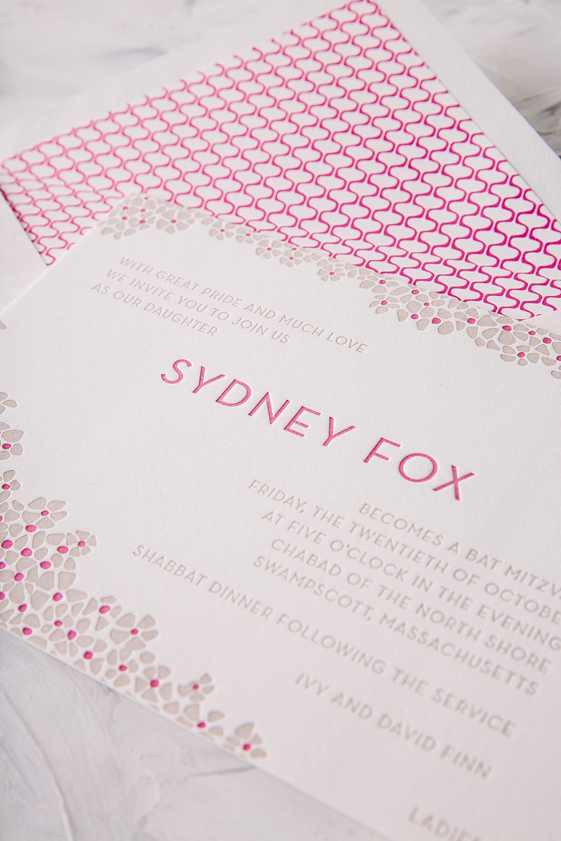 Sweet letterpress Bat Mitzvah invitations printed in Hot Pink and Jute from Smock