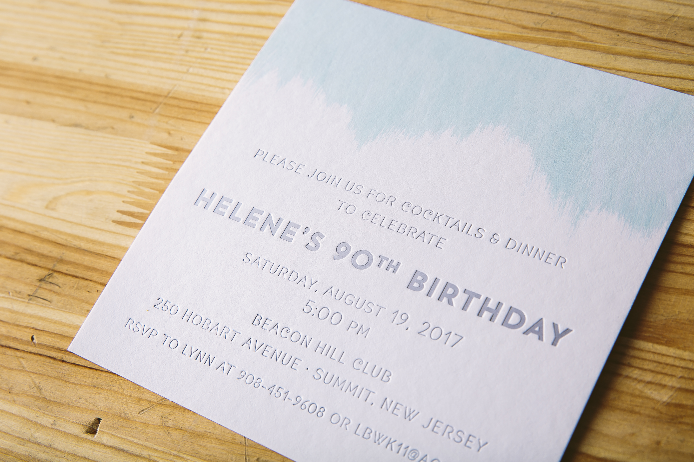 Foil stamped birthday invitations with watercolor accents from Smock