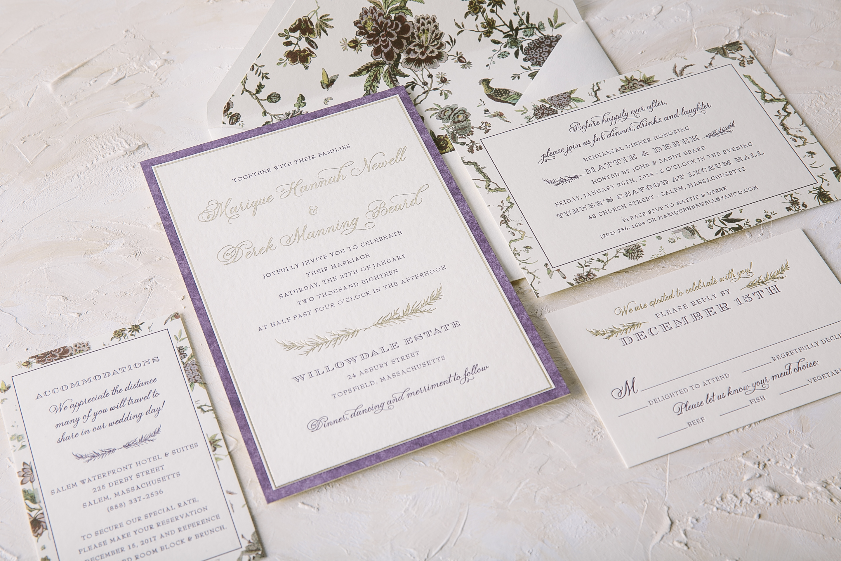 Foil stamped wedding invitations with botanical accents from Smock