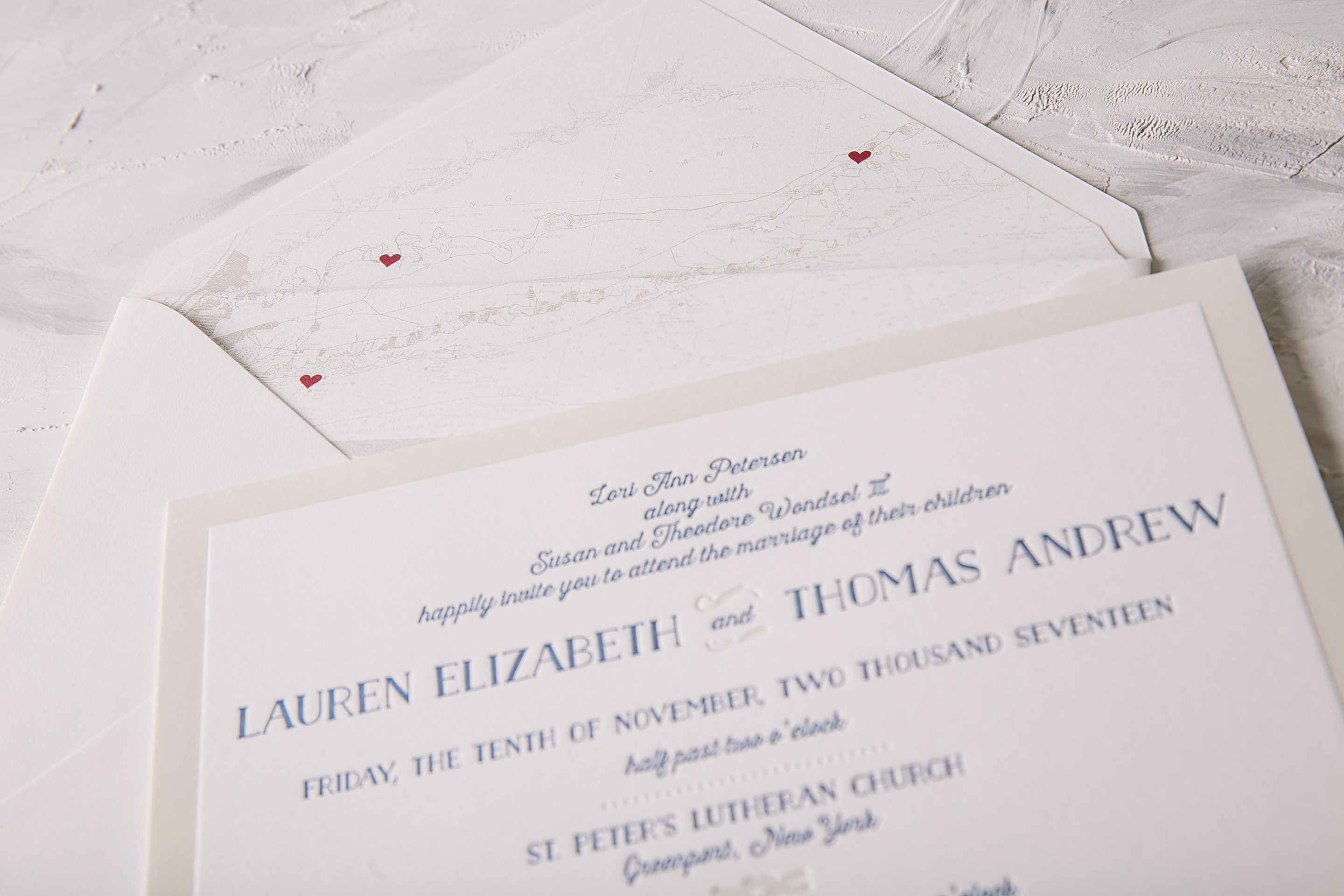 nautical letterpress wedding invitations