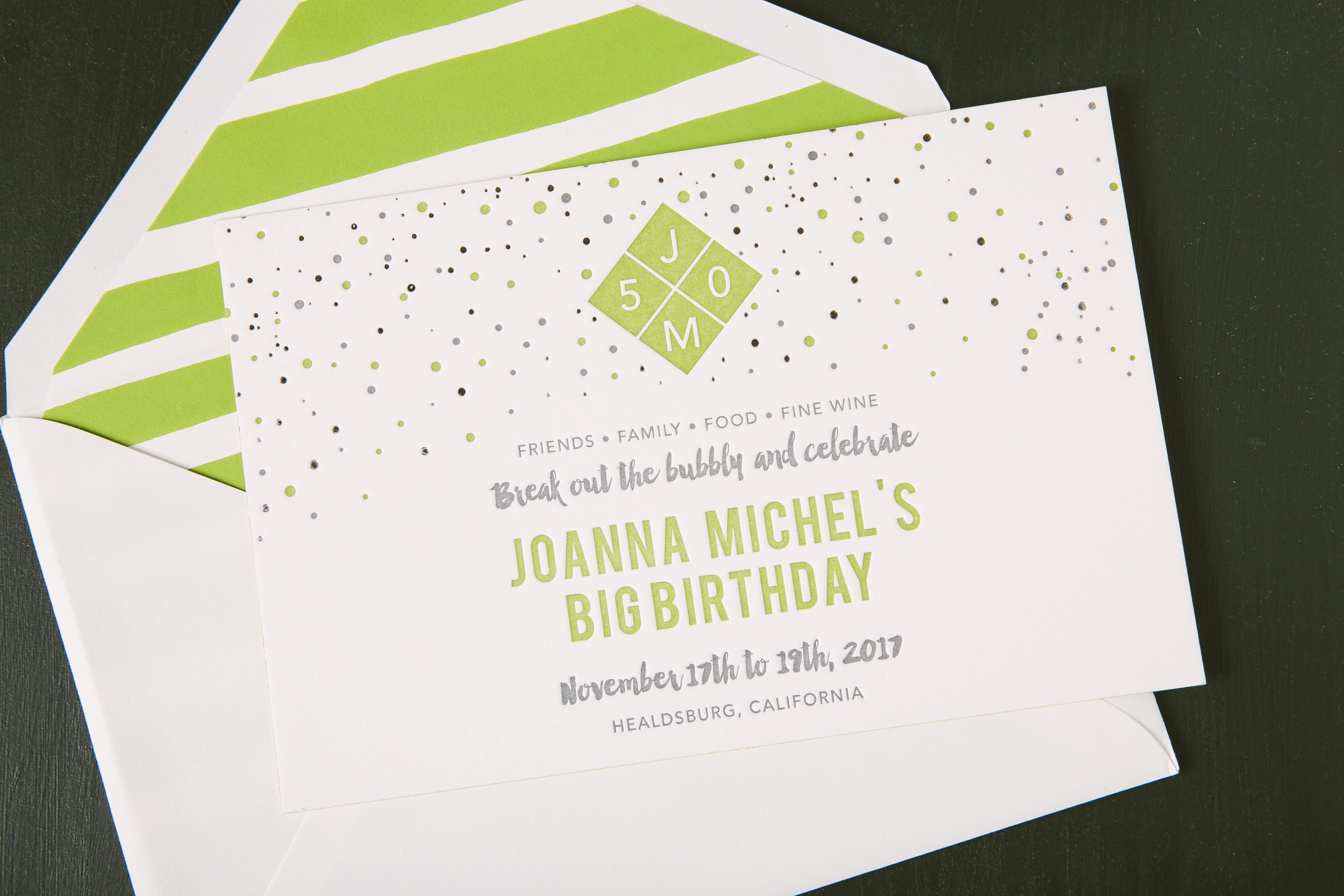 colorful 50th birthday invitations