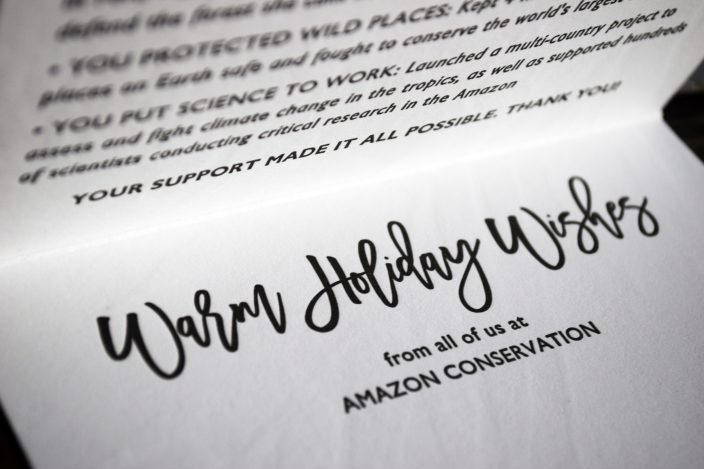 Amazon Conservation Association letterpress holiday cards