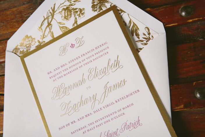 Avignon inspired gold matte wedding invitations with raspberry