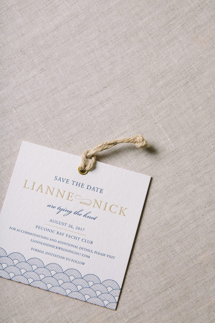 Nautical letterpress save the date