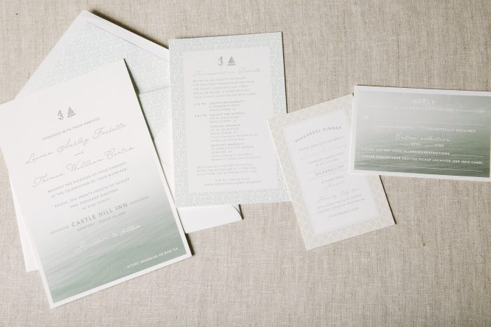 Silver letterpress invitations with a nautical flair