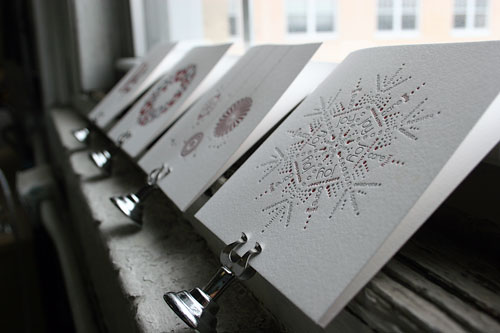 everson museum letterpress holiday cards snow - Letterpress Holiday Cards