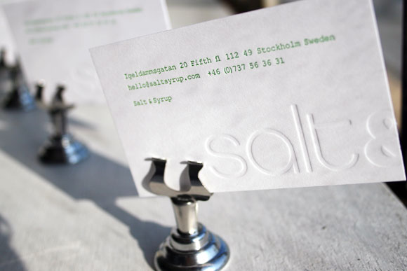 Letterpress business cards archives boxcar press these letterpress business cards printed for salt syrup are simple but really cool we love the combination of blind deboss with a cool green ink reheart Gallery