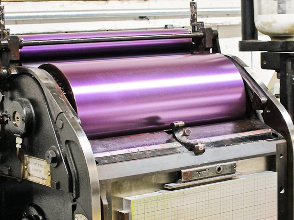 boxcar press letterpress with purple ink