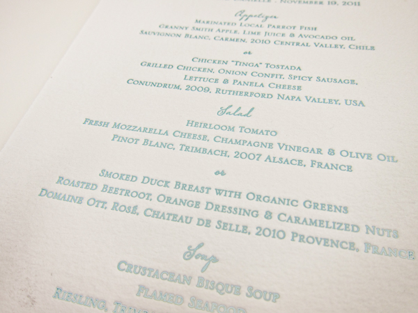letterpress menus
